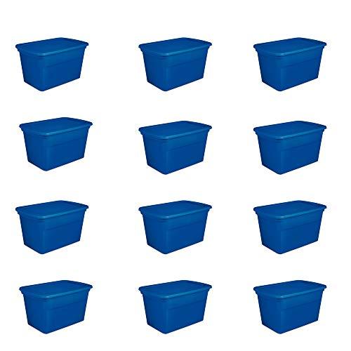 Sterilite 30 Gallon Plastic Stackable Storage Tote Container Box Blue 12 Pack