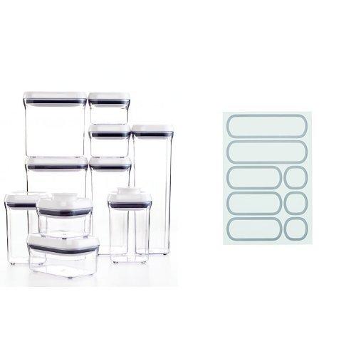 OXO Good Grips 10-Piece POP Container Set White and OXO Good Grips Removable Labels for POP Containers Bundle