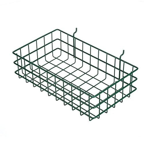 Marlin Steel 00-923-08 Pegboard or Slat Wall Wire Basket Plain Steel Green Powder Coat