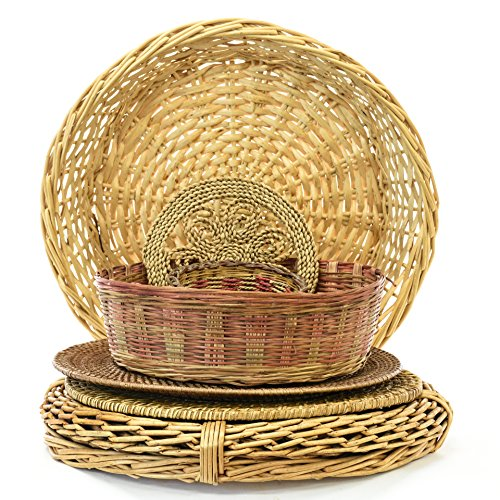 Set Of 6 Woven Art Wall Baskets