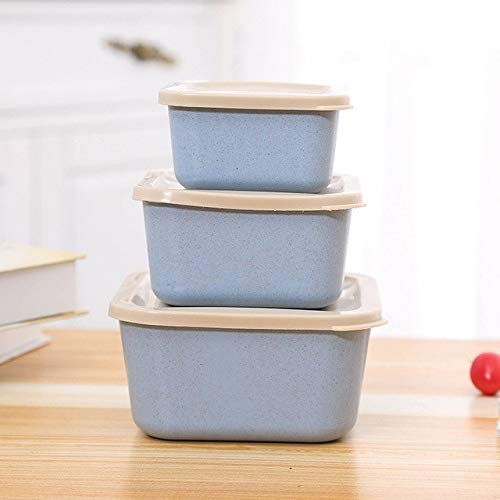Fiesta 3pcsset Wheat Straw Food Storage Box Sealed Lunch Box Fruit Food Container Leakproof Bento Box picnic lunchbox Dinnerware Set Blue