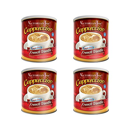Victorian Inn Instant Cappuccino Sugar Free French Vanilla 14 Pound Pack of 4