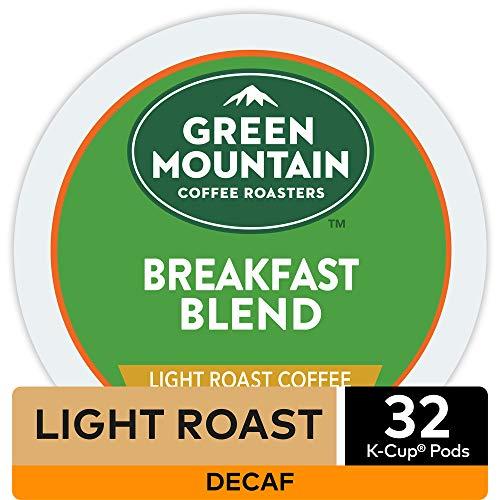 Green Mountain Coffee Roasters Breakfast Blend Decaf Coffee Keurig Single-Serve K-Cup Pods Light Roast 32 Count
