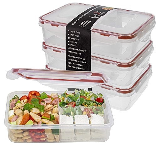 Bento Lunch Box 3pcs set 24oz - Meal Prep Containers Microwavable - BPA Free Leak Proof - Portion Control Food Prep Containers 3 Compartments Dishwasher Friendly - Snap Locking Lid