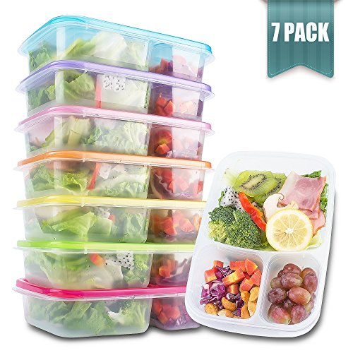 Meal Prep Containers 3 Compartment - Food Storage Containers with Lids  Thick  BPA Free  Reusable Bento Lunch Box - More Durable lunch containers - for Portion Control 21 Day Fix 7-Pack