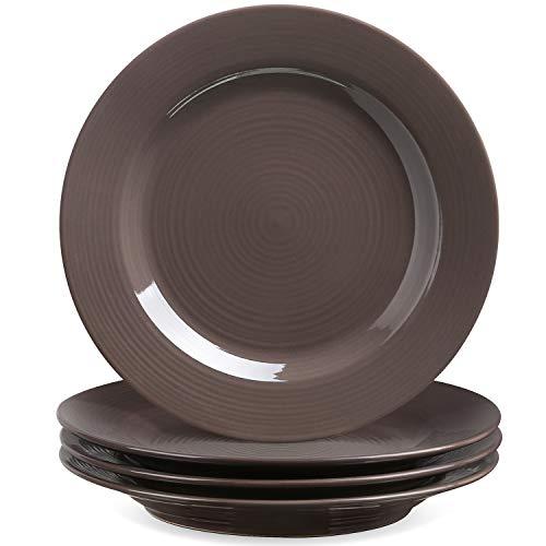Le Tauci 4 Piece 8 Inch Ceramic Salad Plate Set Brown