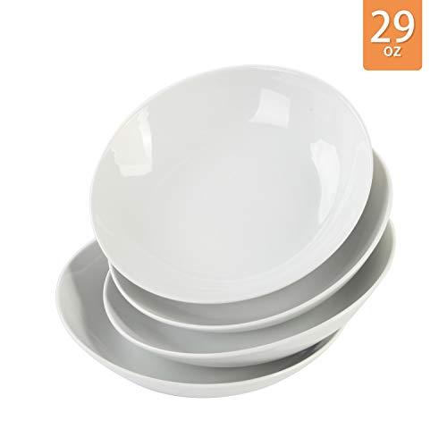 Porcasa Porcelain Serving Plates Salad Bowls Set White 8 Inch 29 Ounce 4-Piece