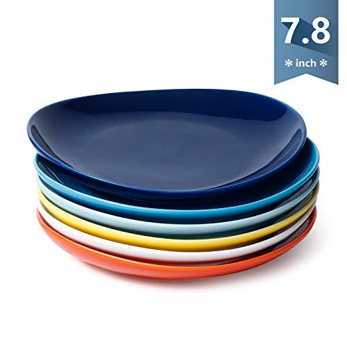 Sweese 151002 Porcelain Dessert Salad Plates - 78 Inch - Set of 6 Hot Assorted Colors