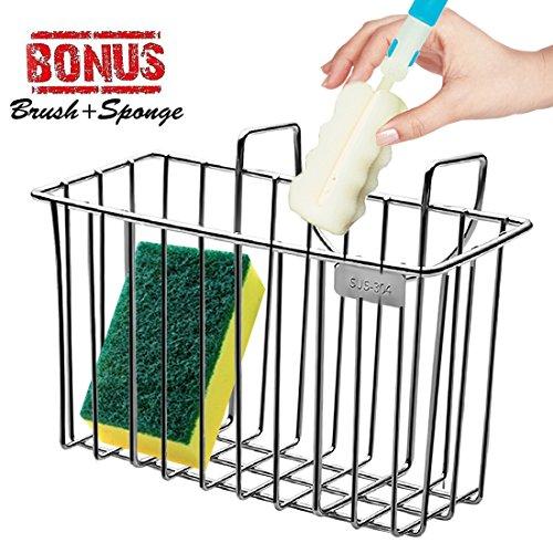 Sponge Holder Sink Organizer Kitchen Caddy Sink Caddie Stainless Steel Holder Dishwashing Liquid Drainer Rack for Sink Countertop Storage with Sponge and Bottle Brush