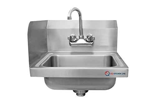 EQ 1 Compartment Commercial Wall Mount Kitchen Sink Stainless Steel