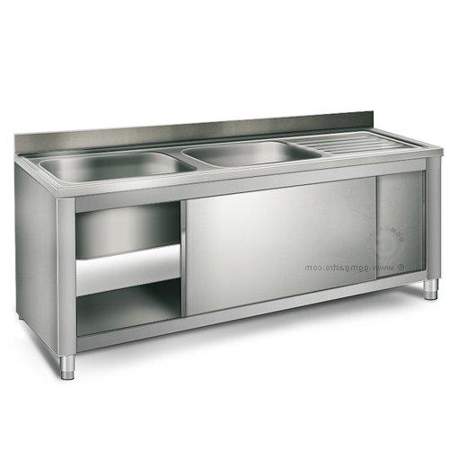 EQ Commercial Stainless Steel Sink 1 Bowl On Left 63 Backsplash Storage Cabinet