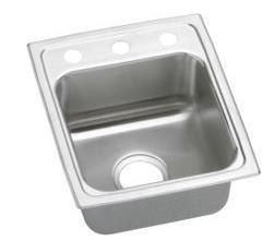 Elkay LR1517 Gourmet Lustertone Commercial Sink Top Mount Sink Only 7 Bowl Depth 15 L x 175 W Standard 3 Faucet Holes