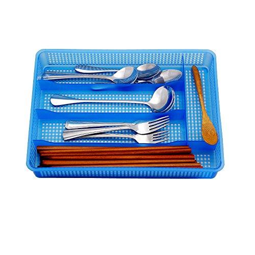 Flatware OrganizersAIYoo Flatware Plastic TrayKitchen Cutlery and Utensil Drawer Organizer Storage Container Blue Cutlery Tray Dinnerware Holder Drawer Dividers