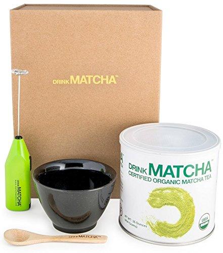 Drink Matcha Organic Green Tea Powder Set Bundle with Ceramic Tea Bowl Handheld Electric Whisk and Bamboo Spoon 16 oz