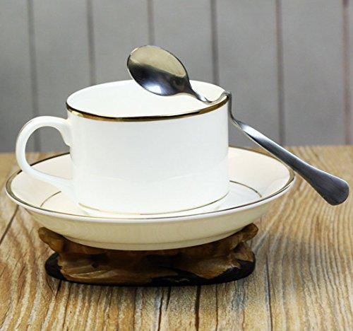 OLQMY-European Bone China Coffee Cup Creative Phnom Penh Afternoon Tea Coffee Cup Holder With Black TeaCup Spoon