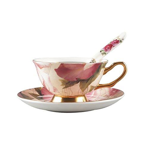 Porcelain Bone China Teacup Spoon and Saucer Set Rose Coffee Cup 7 oz Set-HITFUN