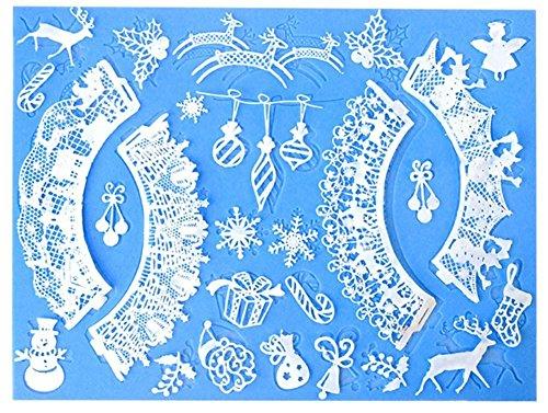 Lesirit Christmas Flower Snowman Pattern Silicone Mat Fondant Cake Lace Embossed Cake Mold Mould Light Blue