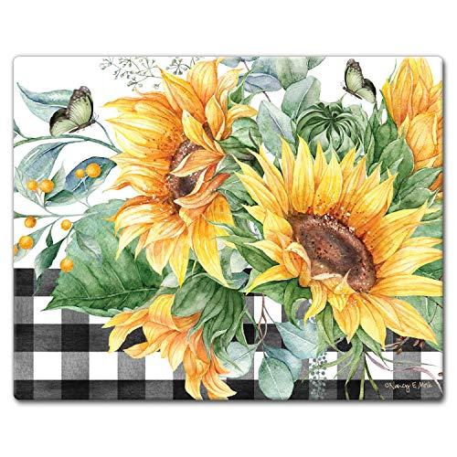 CounterArt Sunflower Fields Tempered Glass Counter SaverCutting Board