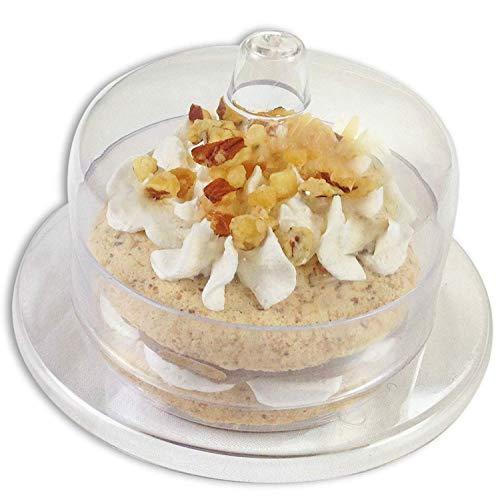 Zappy 24 Mini Cake Stand - Round Mini Cake Plate with Dome CoverLid Clear Heavy Duty Plastic Single Cupcake Stand Mini Dessert Plates 24 Miniature Dessert Cupcake Holders Great For Tiramisu Mousse