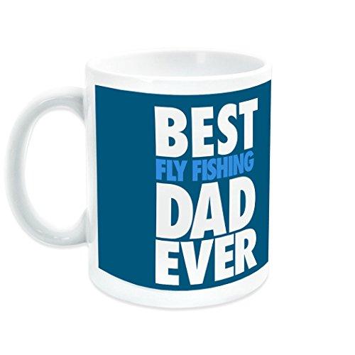 Best Dad Ever Ceramic Mug  Fly Fishing Coffee Mug by ChalkTalkSPORTS  White