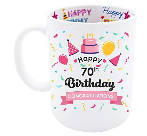 70th Birthday Gift for Women Happy Birthday Coffee Mug