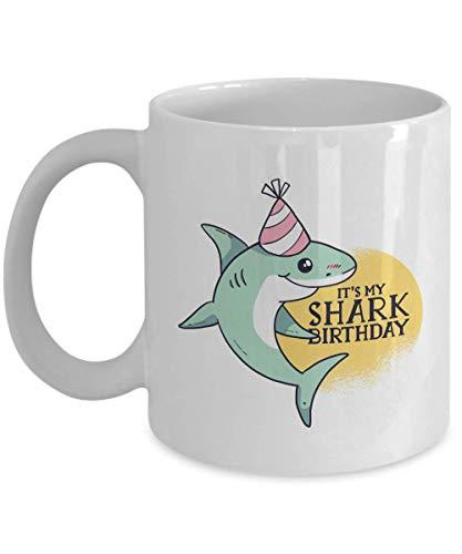 Happy Birthday Coffee Mug - Its My Shark Birthday - Witty Birthday Hat Candle Celebration Confetti Family Friend Kids Son Daughter 11 Oz