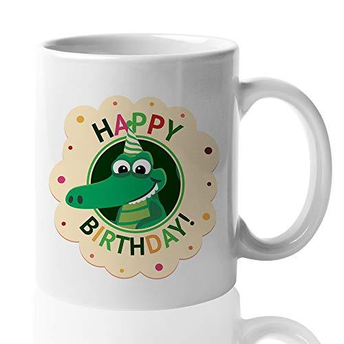Witty Happy Birthday Coffee Mug - Cute Crocodile Birthday Hat Candle Celebration Confetti Family Friend Mom Dad Men Women Son Daughter 15 Oz