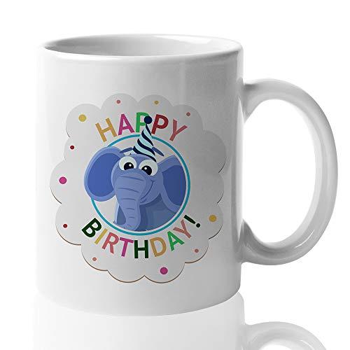 Witty Happy Birthday Coffee Mug - Cute Elephant Birthday Hat Candle Celebration Confetti Family Friend Mom Dad Men Women Kids Son Daughter 15 Oz