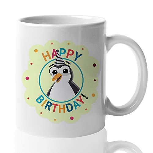 Witty Happy Birthday Coffee Mug - Cute Penguin Birthday Hat Candle Celebration Confetti Family Friend Mom Dad Men Women Kids Son Daughter 15 Oz