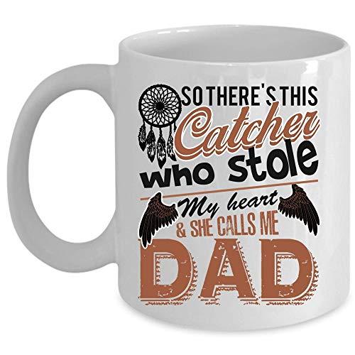 She Calls Me Dad Coffee Mug This Catcher Stole My Heart Cup Coffee Mug 15 Oz - WHITE
