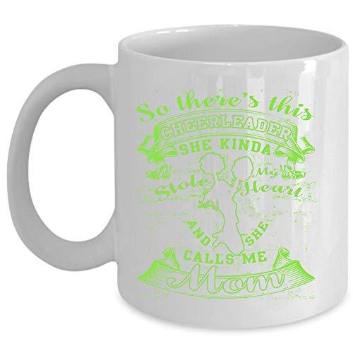 She Calls Me Mom Cup Cute Cheerleaders Mom Coffee Mug This Cheerleader Kinda Stole My Heart Cup Coffee Mug 11 Oz - WHITE
