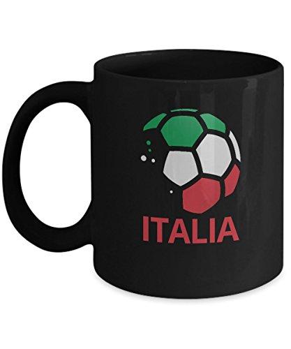 Italia Soccer Team Coffee Mug - 11oz Black Ceramic Tea Cup World Football Cup Country Pride Novelty Birthday Holiday Christmas Gift Set of 1