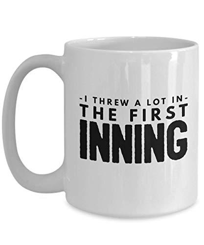 Baseball Coffee Mug 15 Oz - Threw A Lot Major - League Team Present For Family Boyfriend Dad Husband Sports Fan Coach Player