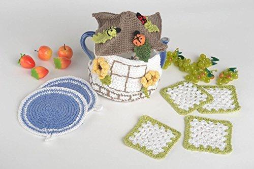 Handmade Kitchen Accessories Set 4 Crochet Hot Pads 2 Pot Holders Teapot Cozy