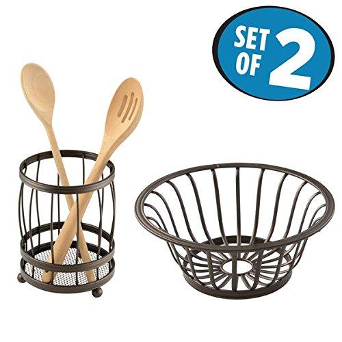 mDesign Kitchen Counter Accessory Set Utensil Holder Fruit Basket - Set of 2 Bronze