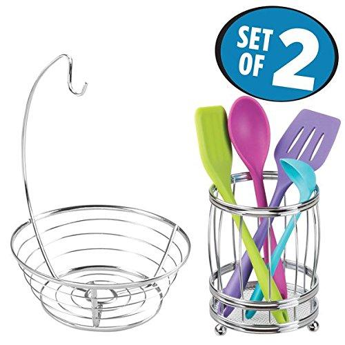 mDesign Kitchen Counter Accessory Set Utensil Holder Fruit Basket - Set of 2 Chrome