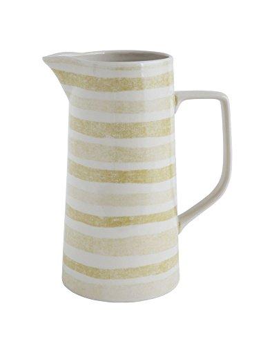 7-12L x 5W x 9-12H Stoneware Pitcher w Yellow Stripe