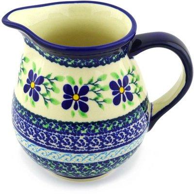 Polmedia Polish Pottery 15 oz Stoneware Pitcher H4760F Hand Painted from Zaklady Ceramiczne in Boleslawiec Poland Shape S461CGU950 Pattern P5555ADU121