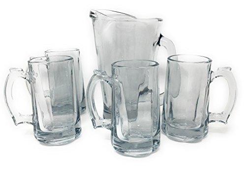 Anchor Hocking Beer Pitcher and Mugs Bundle 55 Ounce Beer Wagon Pitcher and Four 12 Ounce Beer Tankard Mugs