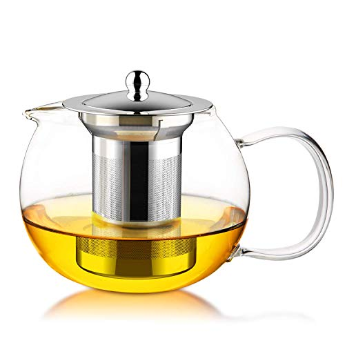 FEBOTE Glass Teapot with Stainless Steel Infuser and Lid Kettle Tea Maker For Blooming Flowering Loose Tea or Bagged Tea 21 Ounce 600 ml Tea Pots Filter with Removable Tea Strainer