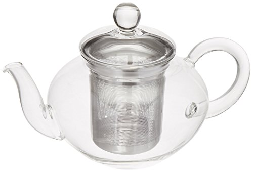 Happy Sales HSTP-GLSS30 30 oz Heat Resistant Borosilicate Glass Teapot Stainless Steel Infuser for Loose Tea Clear