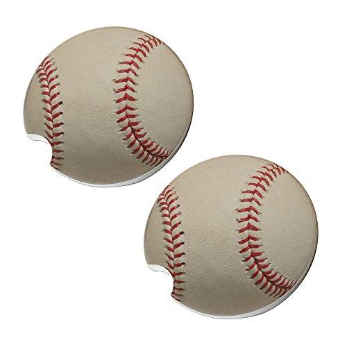 Baseball Car Coasters - Round Sandstone Car Coaster Set