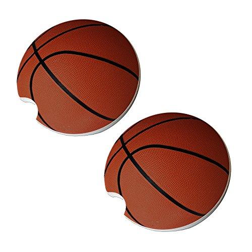 Basketball Car Coasters - Round Sandstone Car Coaster Set