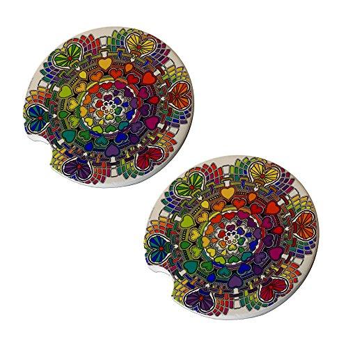 Heart Mandala Car Coasters - Round Sandstone Car Coaster Set