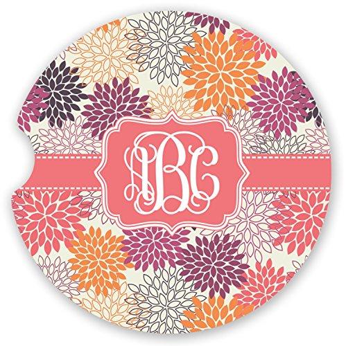 Mums Flower Sandstone Car Coaster - Single Personalized