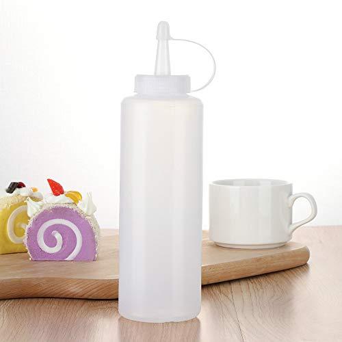 5PCS Plastic Clear White Refillable Squeeze Sauce Condiment Bottles ContainerBPA Free Reusable Plastic Containers
