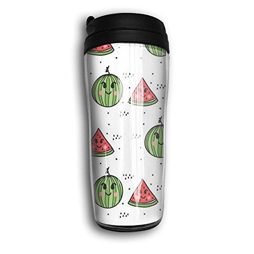 Portable Curve Coffee Mug Cartoon Watermelon Travel Coffee Mug With Lids Coffee Cup Good For TravelOfficeSchoolHomeMilkTea350 ML