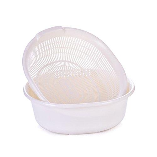Battletter Creative Fruit and Vegetables Draining Basket Kitchen Wash Basin white