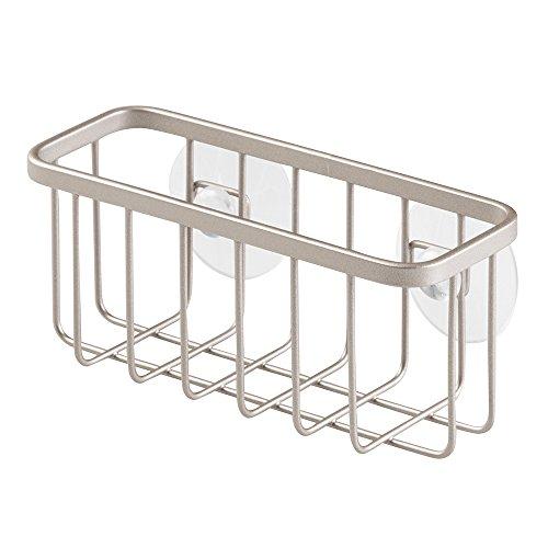 InterDesign Gia Suction Kitchen Sink Caddy Sponge Holder for Kitchen Accessories - Satin