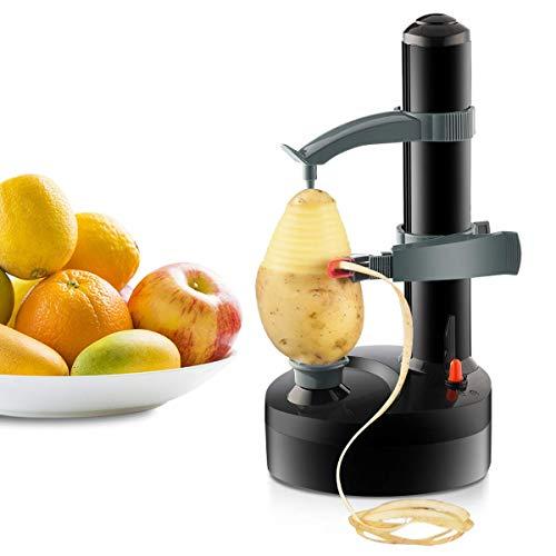 Electric Peeler Automatic Rotating Apple Peeler Potato Peeling Multifunction Stainless Steel Fruit and Vegetable Electric Peeler Machine Black